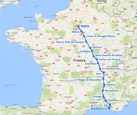 TRAIL MARSEILLE-PARIS EN 18 CASERNES   Carte étapes